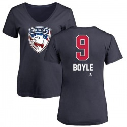 Women's Brian Boyle Florida Panthers Name and Number Banner Wave V-Neck T-Shirt - Navy